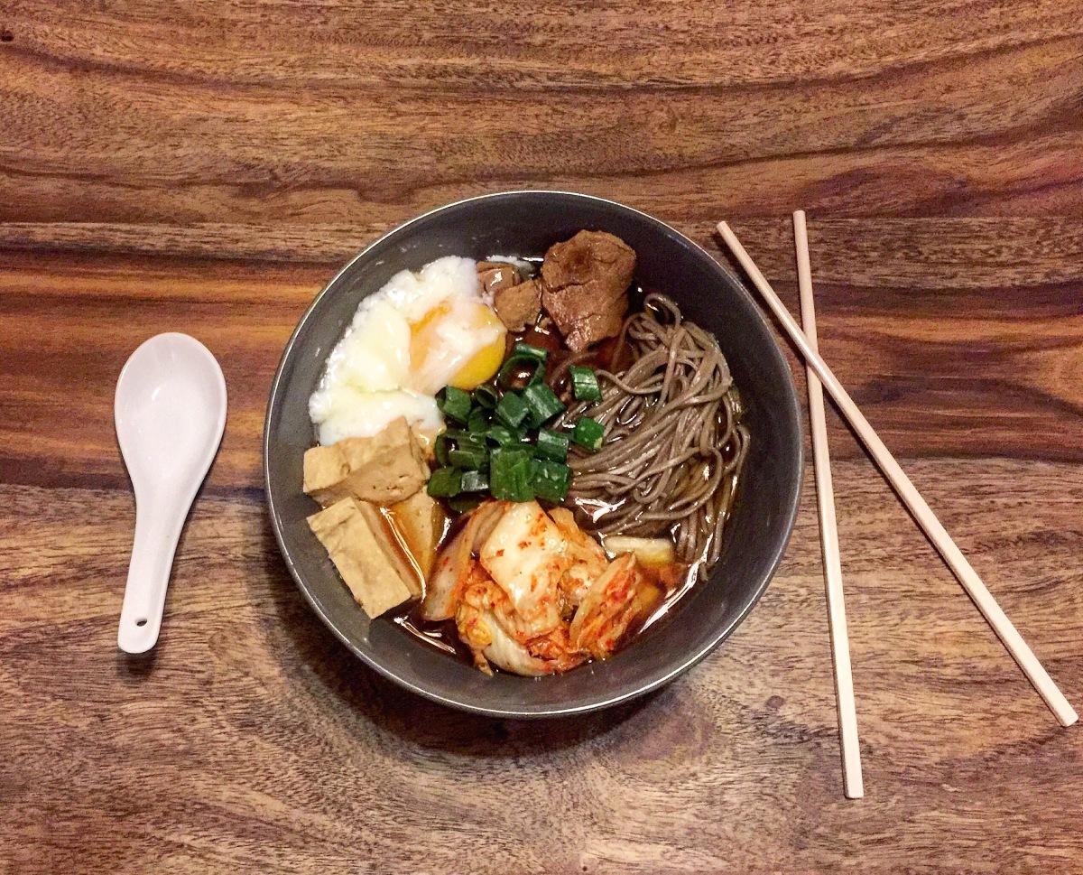 Pork, tofu, kimchi & soba noodle soup